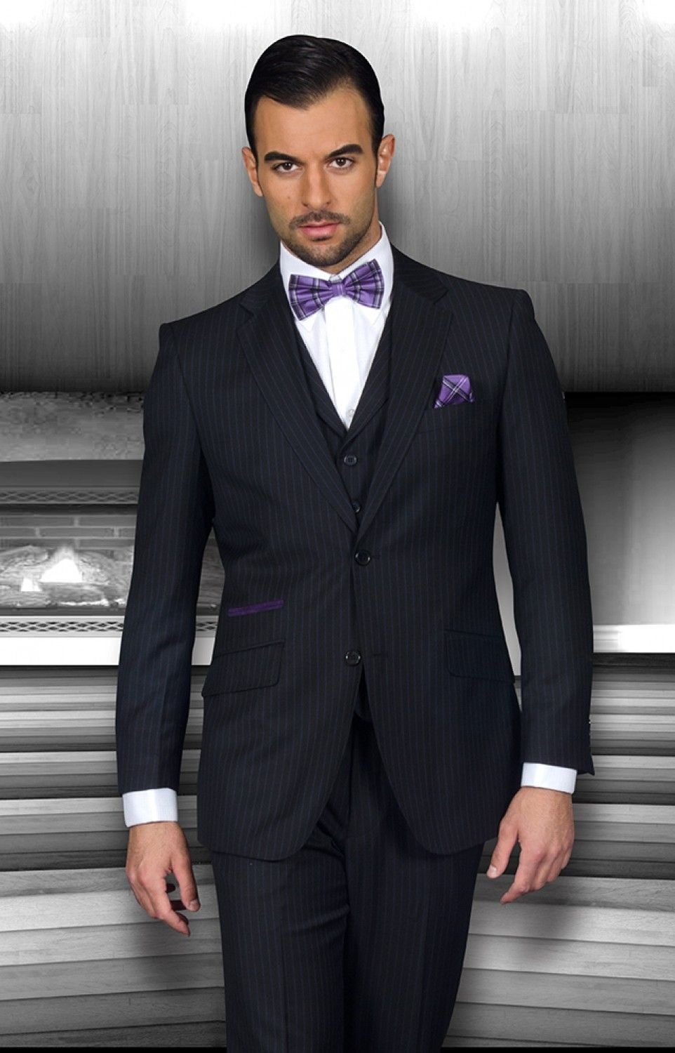 Doing purple right with a dashing pocket square and bowtie