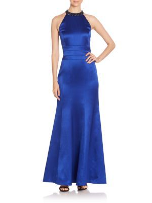 KAY UNGER Beaded Halter Gown. #kayunger #cloth #gown