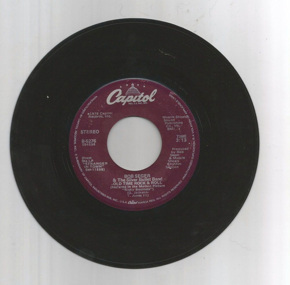 1978 Bob Segar Old Time Rock N Roll Capitol Records Vinyl 45rpm Capitol Records Vinyl Music Vinyl Records