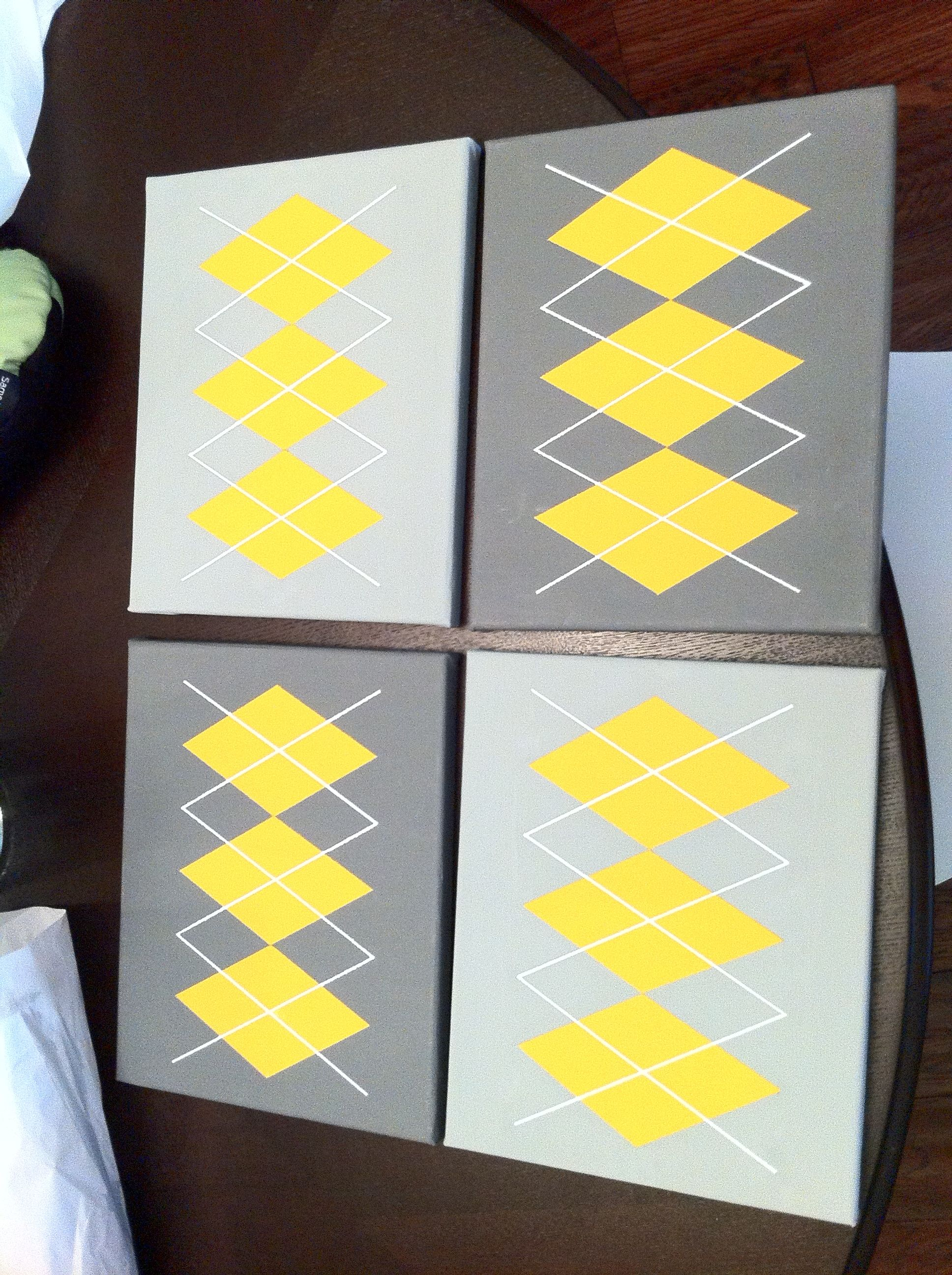 Argyle on canvas. Easy do it yourself wall art with delicate ...