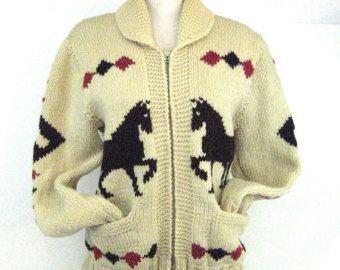 50s Cowichan Style Sweater Hand Knit Horse Sweater Cream Red and Brown Unisex Sweater 1950s Knit Cardigan  Horse Cardigan Cowichan Cardigan