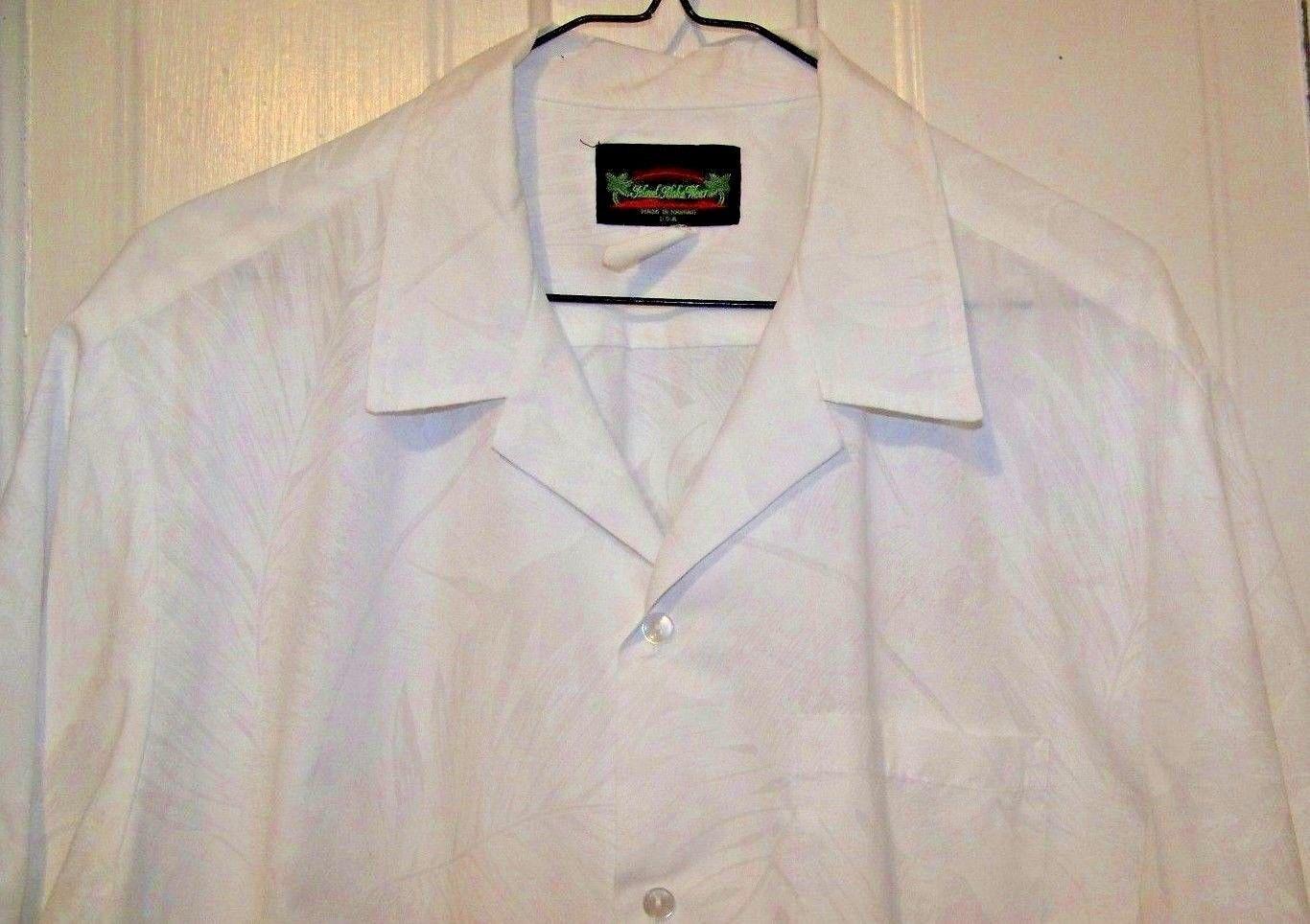 Island Aloha Wear Hawaiian Shirt Mens XL White Floral Wedding Made ...