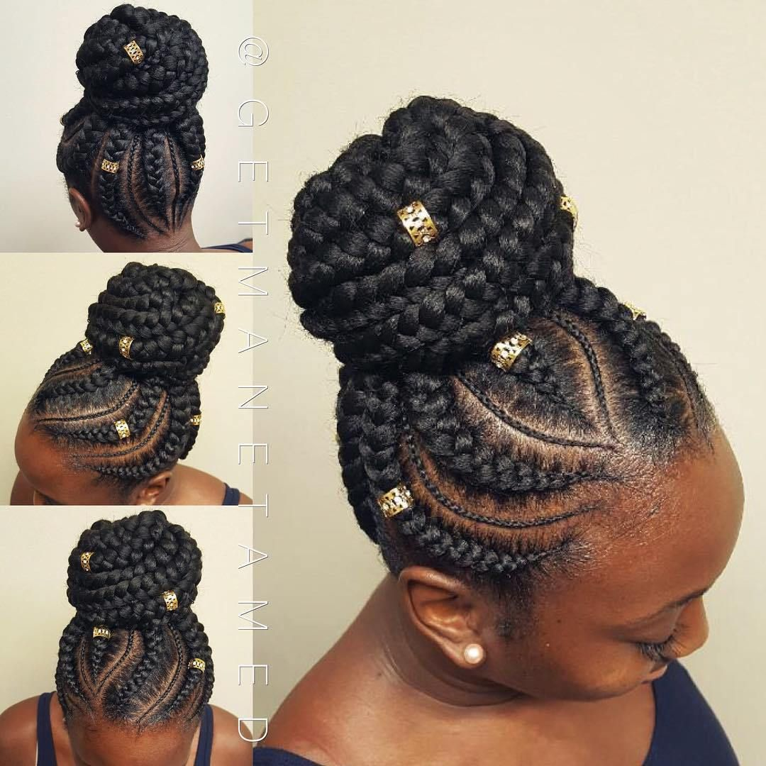 60 Inspiring Examples Of Goddess Braids Hair Styles Braided Bun Hairstyles Natural Hair Styles