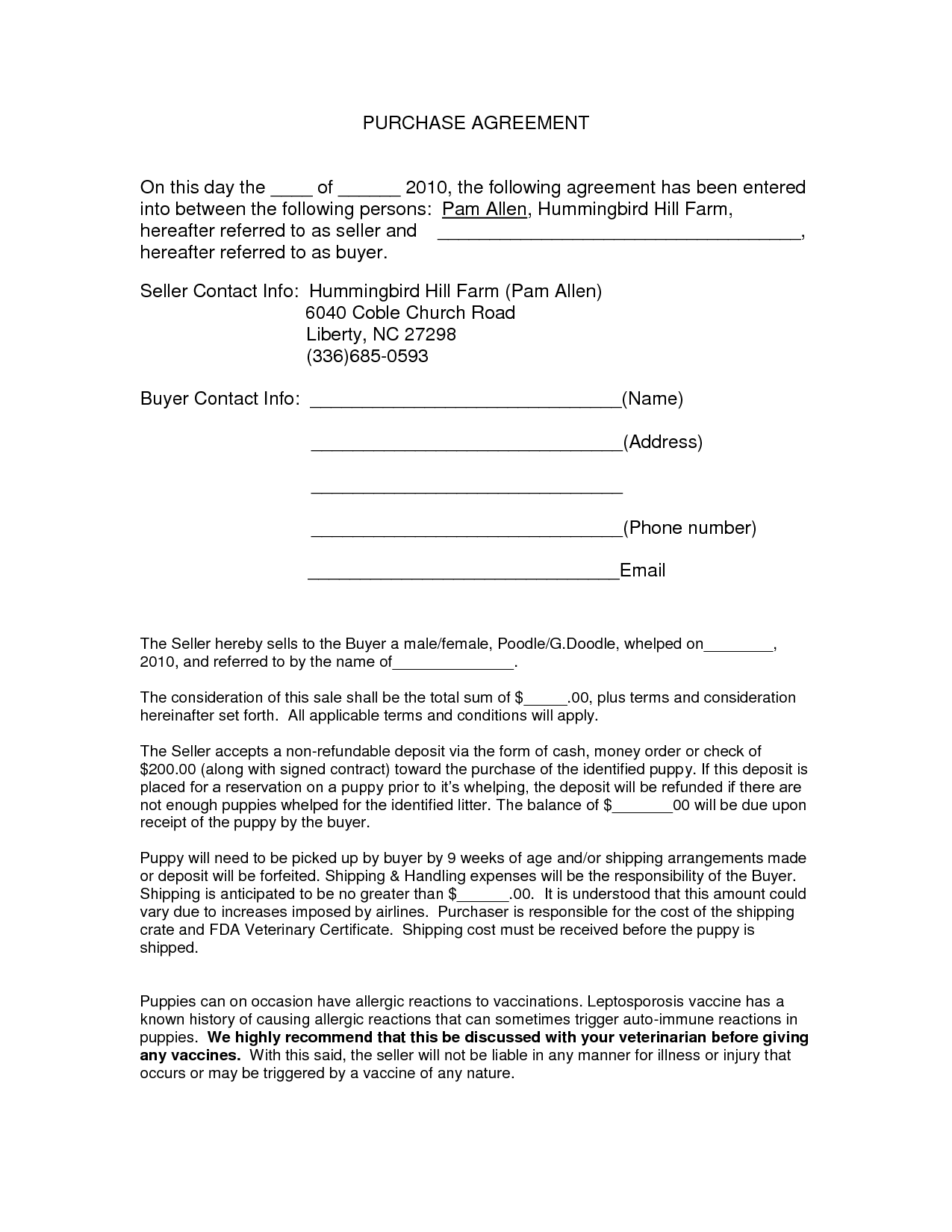 Auto Purchase Agreement Form  Doc By Nyy  Purchase Contract