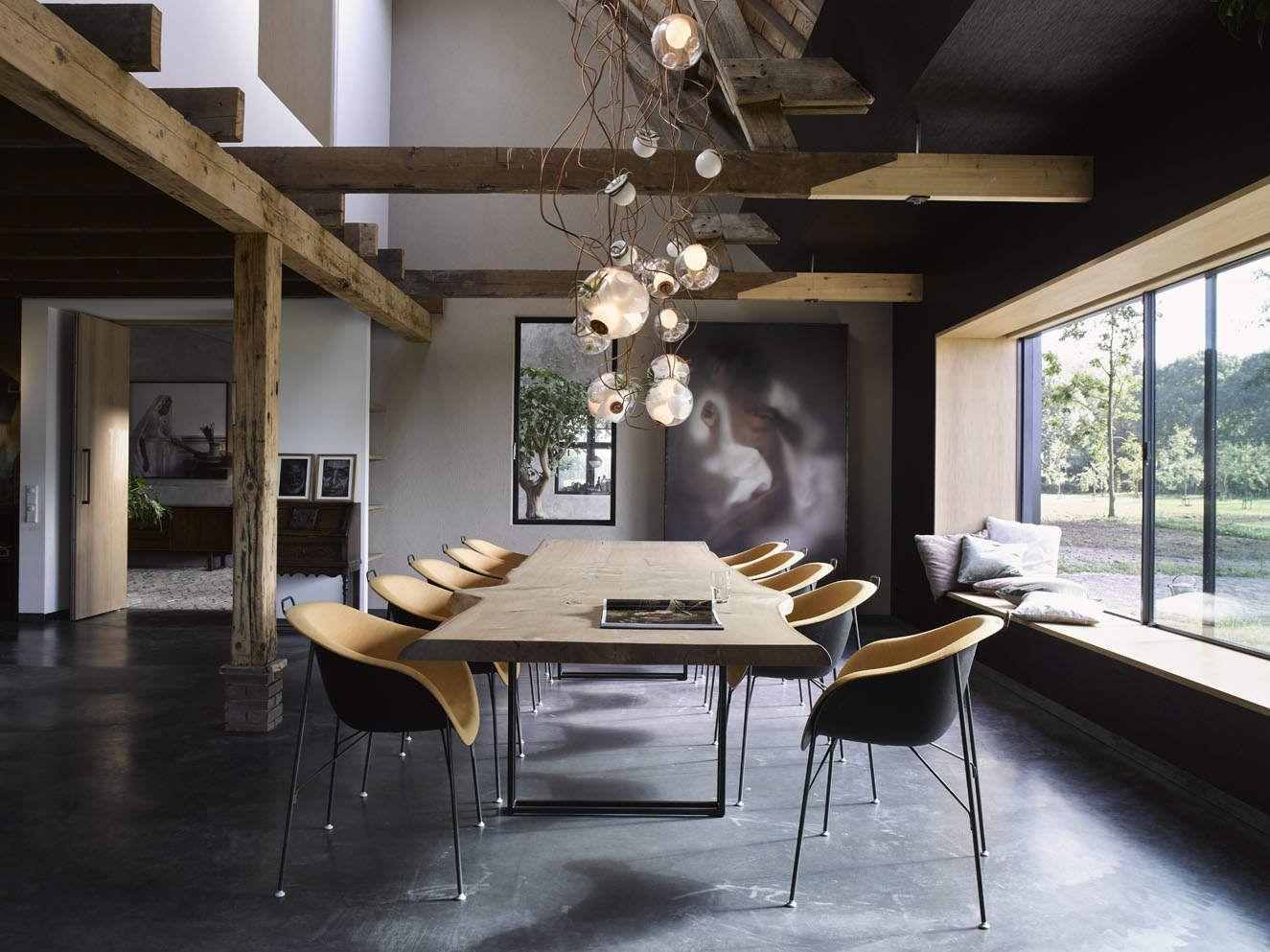 dining table, wood, long table, chandelier, concrete floor, ZW6, ZECC