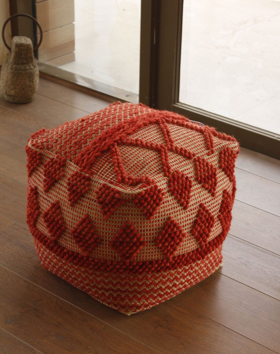 Republic Pouf Ottoman In Red Cotton Wool Acme Furniture 96422