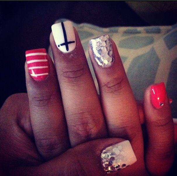 Jessica Christmas Nails: Nails, Acrylic Nails, Nail Design, Nail Design 2013, Cross