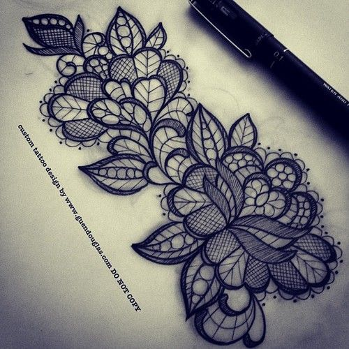 Not A Fan Of Flower/rose Tattoos But This I Like! The Lace