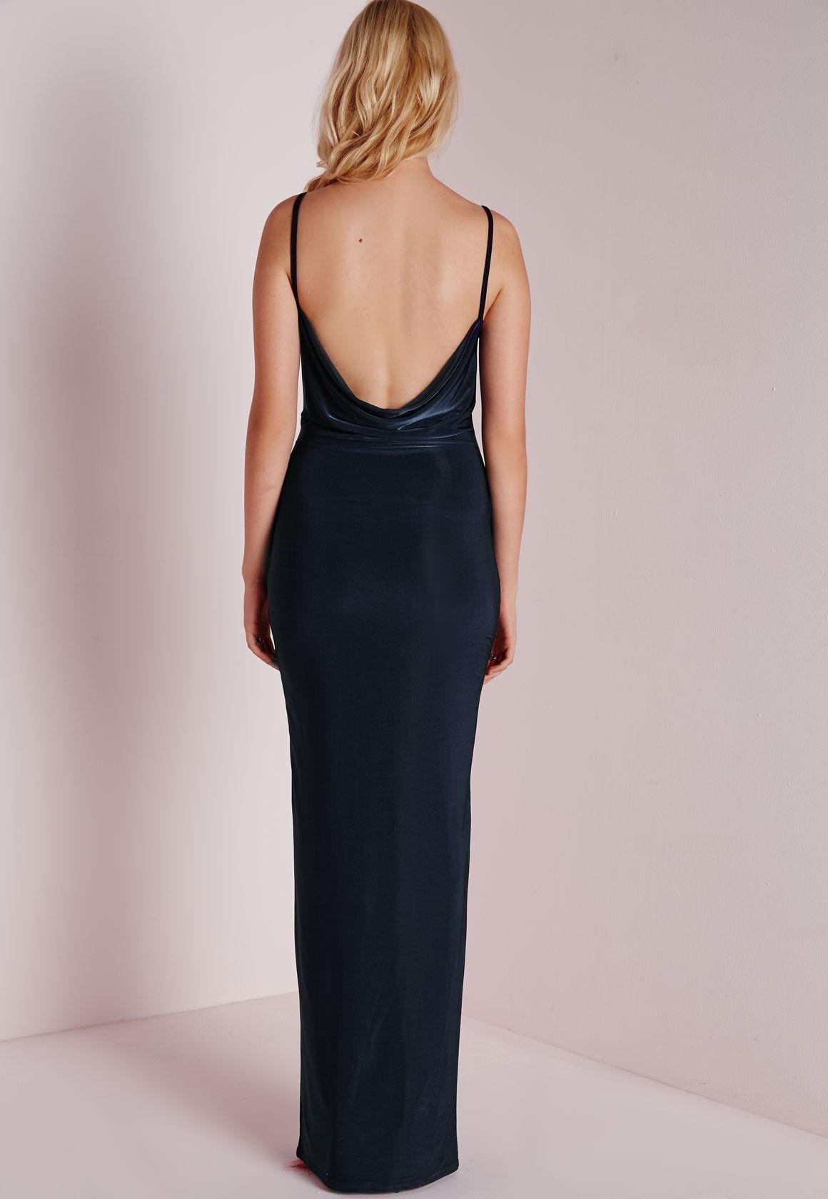 Slinky Cowl Maxi Dress Navy - Dresses