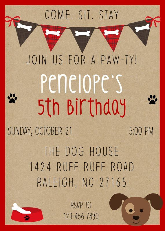 PRINTED LISTING Puppy Party Birthday Invitation Dog Invita