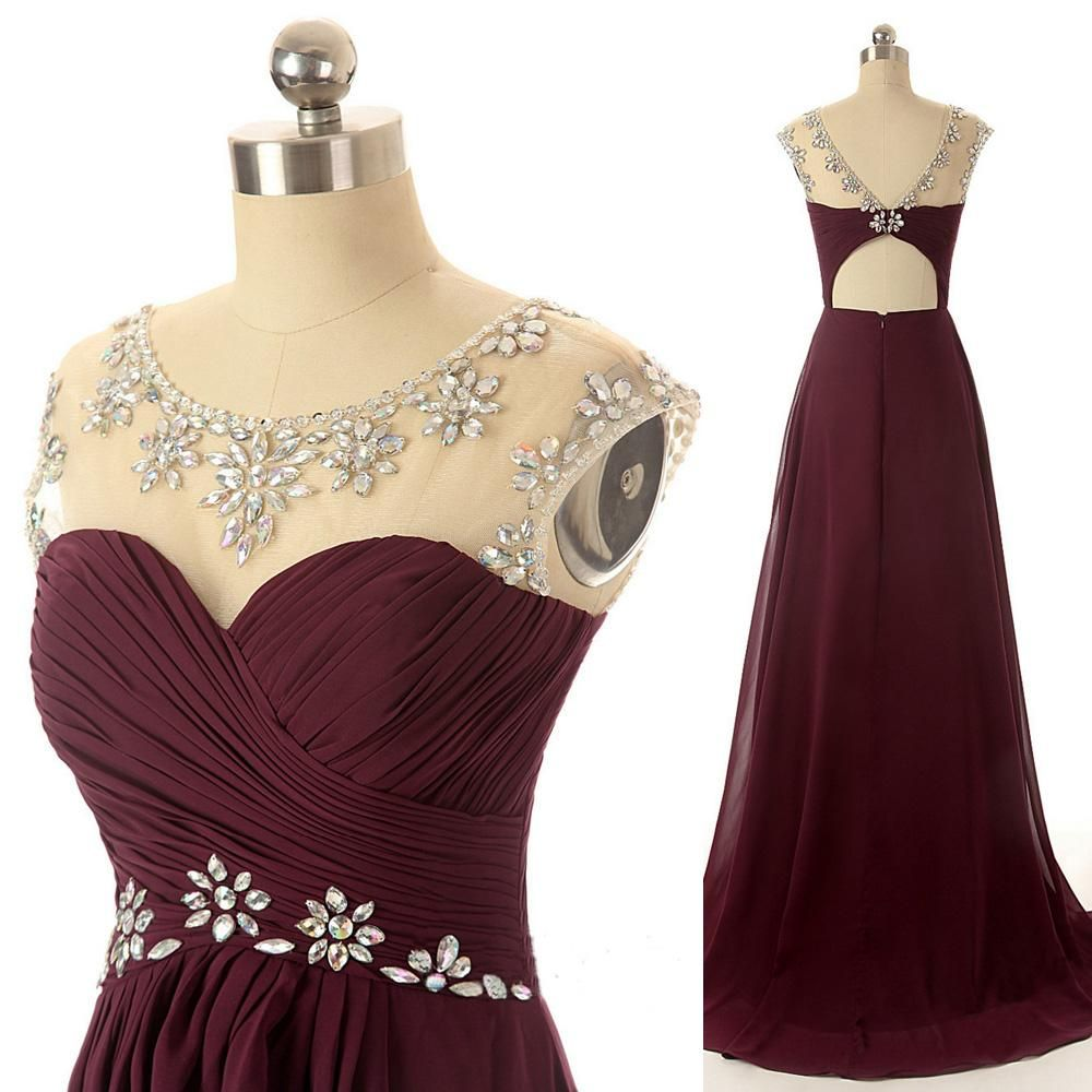 Maroon long prom dresses scoop chiffon ilussion neckline for Evening gown as wedding dress
