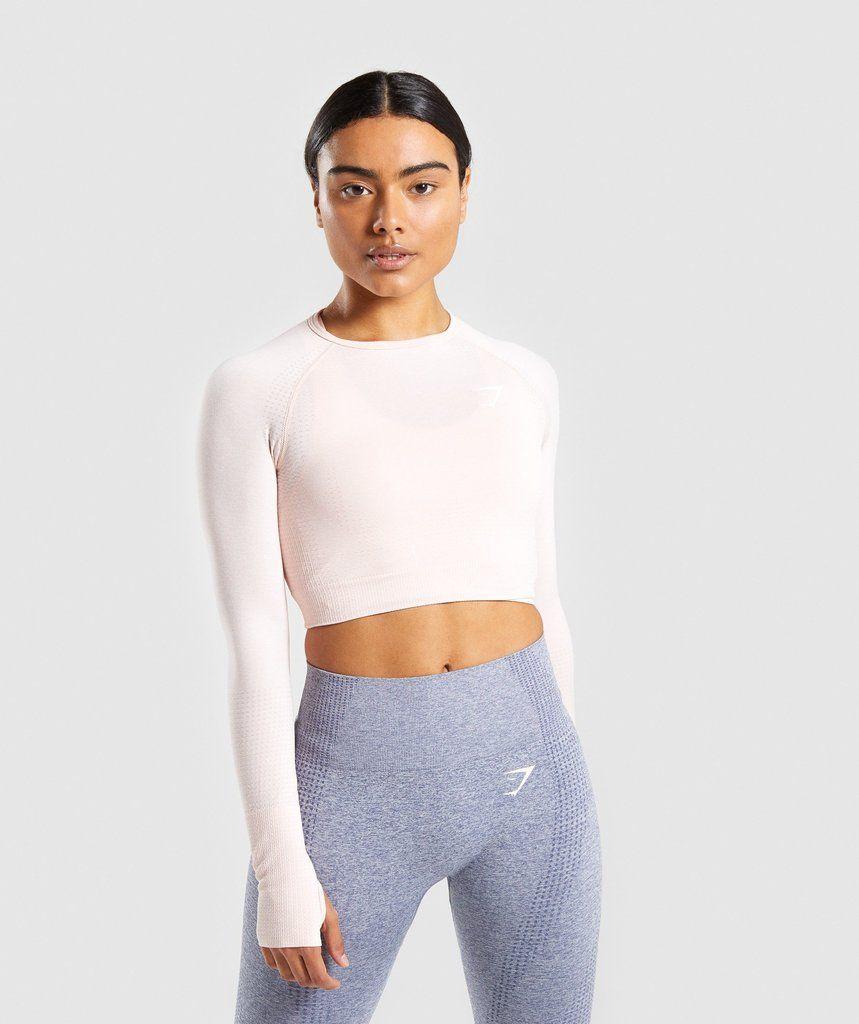 f0da7722a894c Gymshark Vital Long Sleeve Crop Top - Blush Nude Marl
