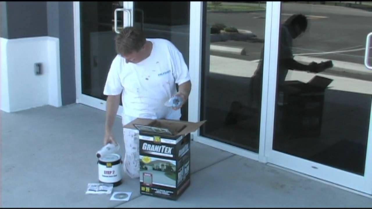 Applying concrete floor coating Granitex from Lowe\'s | DIY repairs ...
