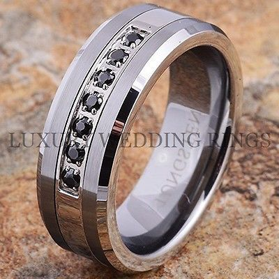 Tungsten Ring Black Diamonds Mens Wedding Band Brushed Anium Color Size 6 13