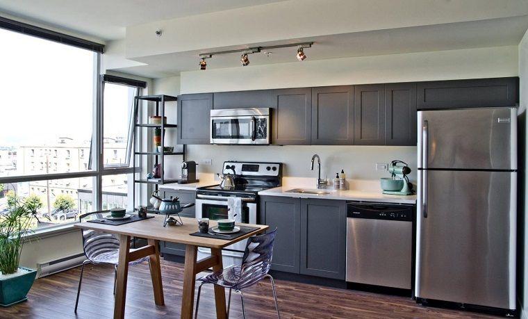 Color gris para ideas en la decoración de cocinas modernas ...