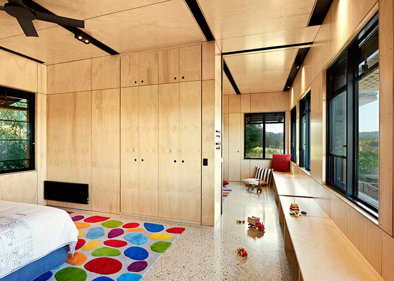 Mihaly Slocombe Extend Vineyard Home With Timber Nursery Plywood Interior House Architecture Design Home