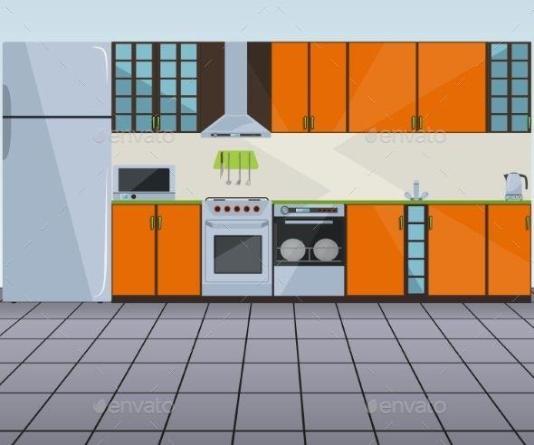 Modern Orange Kitchen Interior Vector Illustration Design Art
