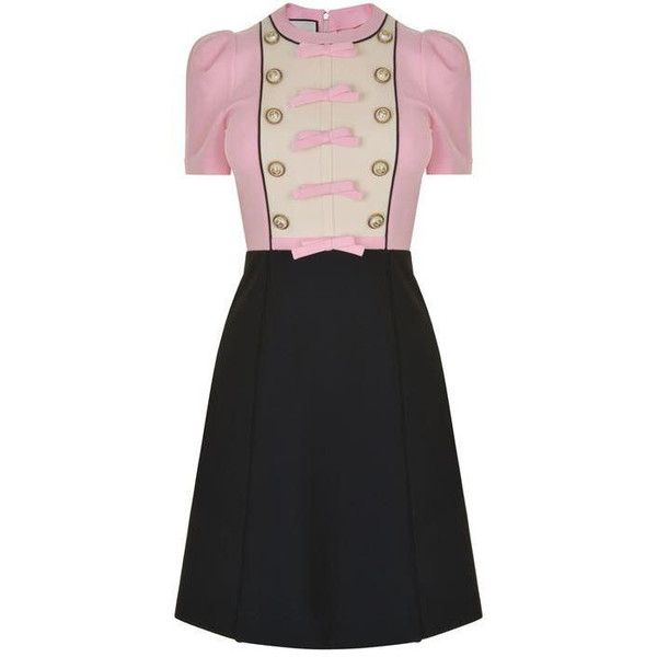 1c95ee86c Gucci Bow Detail Dress ($1,760) ❤ liked on Polyvore featuring dresses, gucci  dress, retro dresses, retro style dresses, bib dress and gucci