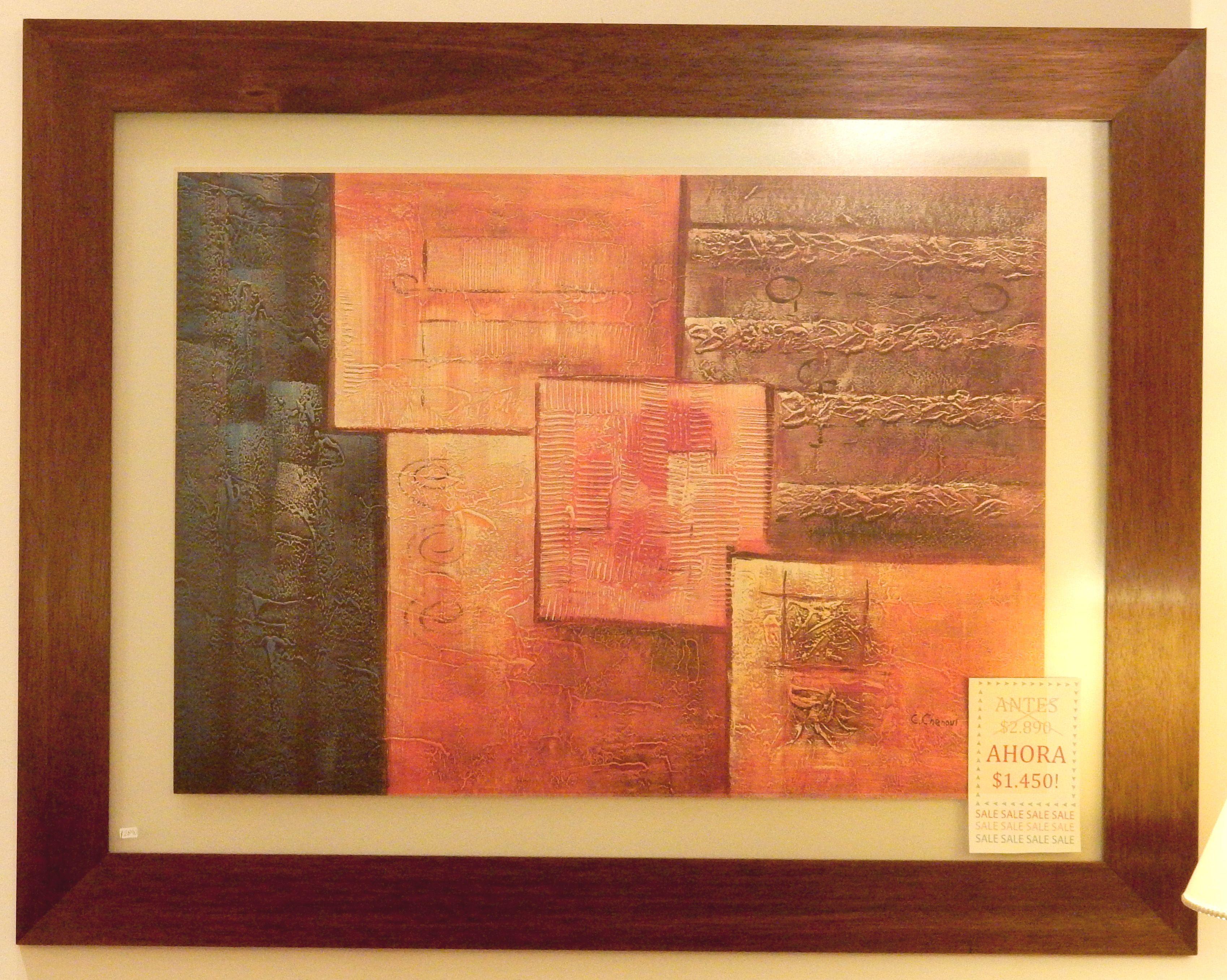 Cuadro de figuras geometricas en marco de madera en cedro. En ...