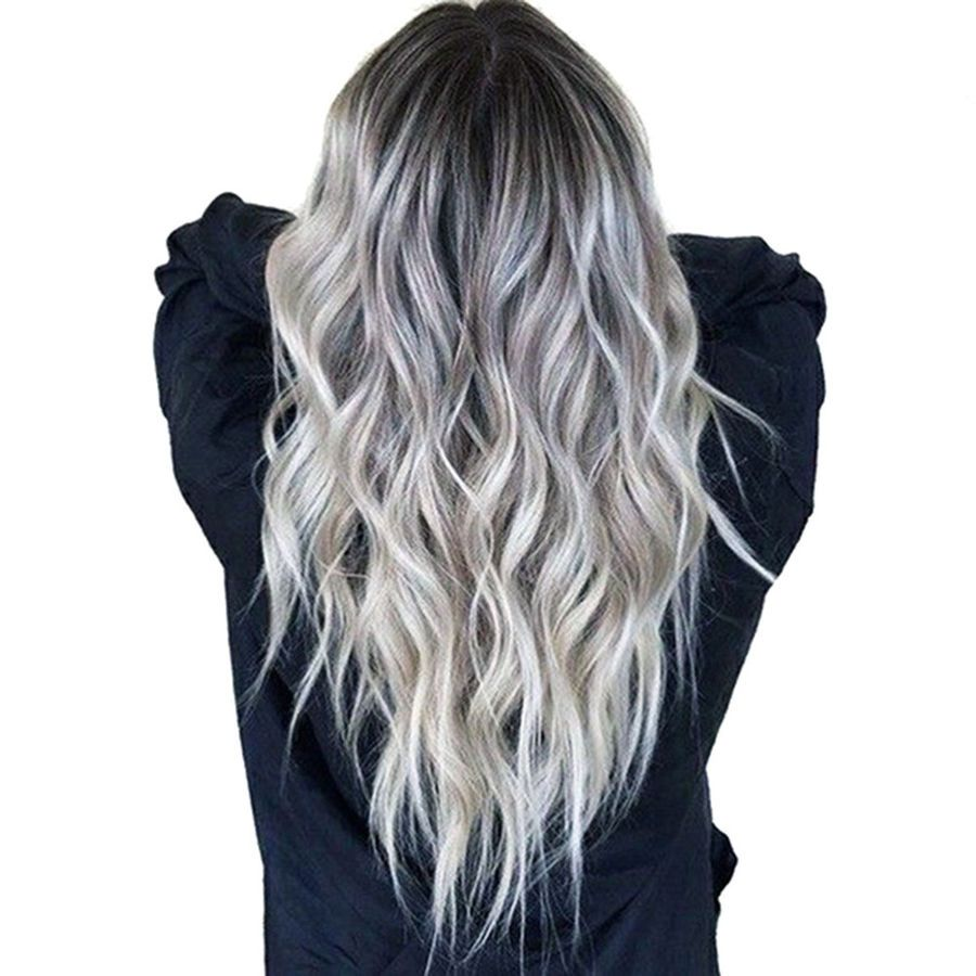 Women Ombre Silver Wavy Curly Long Hair Natural Wig Synthetic Hair Cosplay Wigs 6455772320698 Ebay Curly Long H Hair Styles Curly Hair Styles Long Hair Styles