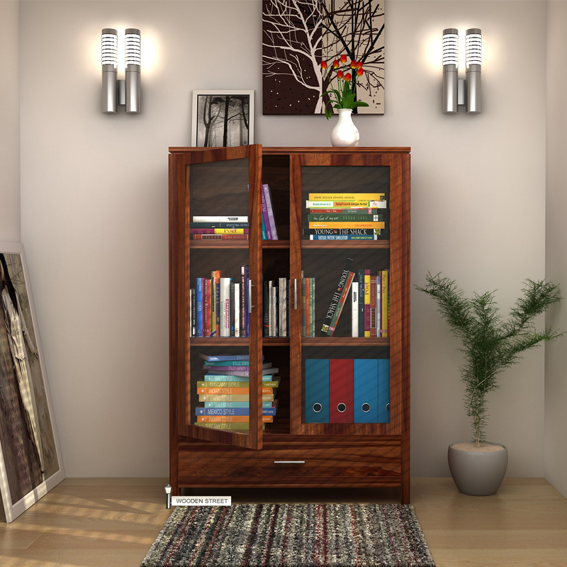 Buy Heimo Bookshelf Teak Finish Online In India Wooden Street Living Room Cabinets Shelves Bookcase