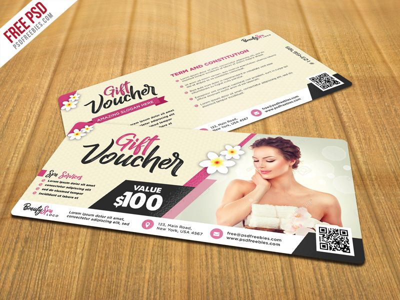 Beauty and Spa Gift Voucher PSD Template Psd templates, Template - free ticket printing