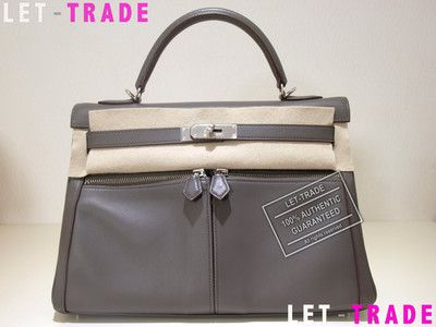 AUTHENTIC HERMES KELLY LAKIS 32 SWIFT FULL LEATHER SHOULDER HAND BAG PHW  ETAIN