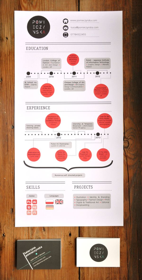 curriculum vitae and cards  updated by kasia pomieczynska  via behance