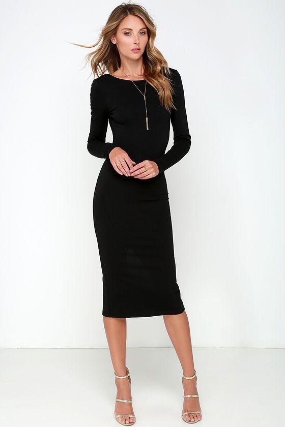 493bb76dd7e Sexy Black Midi Dress - Backless Dress - Bodycon Dress -  46.00