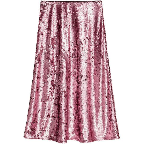 bb641974f8 Sequined Skirt $59.99 (79 CAD) ❤ liked on Polyvore featuring skirts, h&m,