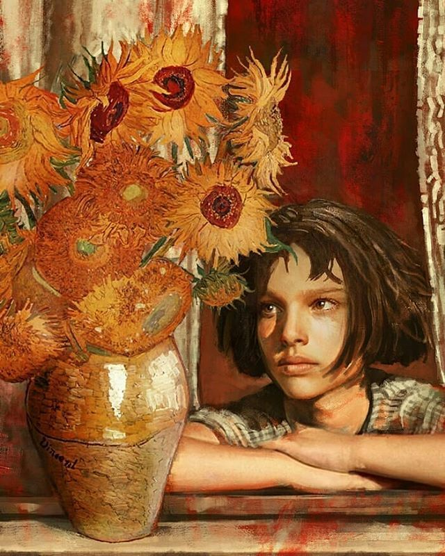 "Simples Decoração on Instagram: ""Que beleza!  @Regran_ed from @gedogfx -  Mathilda's sunflowers #vangogh  #leontheprofessional - #regrann"""