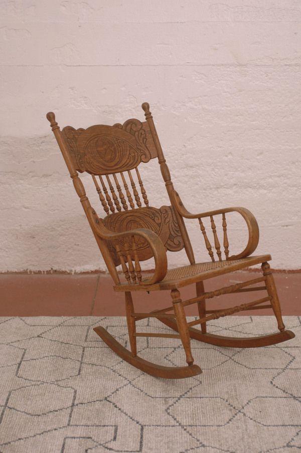 Antique Colonial Revival Pressed Back Oak Rocker Rocking Chair