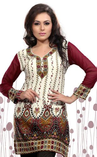Indian Tunic Top Womens Kurti Printed Blouse India Clothing (Off White) - http://www.desitoga.com/kurti/indian-tunic-top-womens-kurti-printed-blouse-india-clothing-off-white-2/