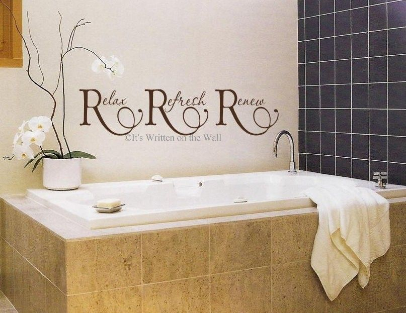 Bathroom Signs Relax relax refresh renew for bathroom 8x33 vinyl lettering wall saying
