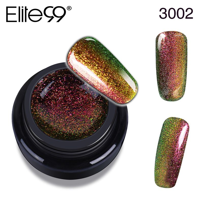 Elite99 Uñas de Gel Polaco Base Top Coat Camaleón 3D Bling Diseño ...