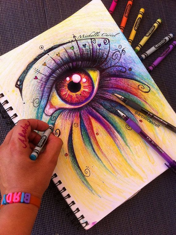 Ojo Tener Pasion Arte Original 8 X 10 En Estera De 11 X 14 Eye Drawing Crayon Art Eye Art