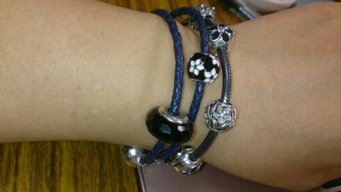 94cd16e54b001 Moments double woven leather bracelet, dark blue | My Pandora ...