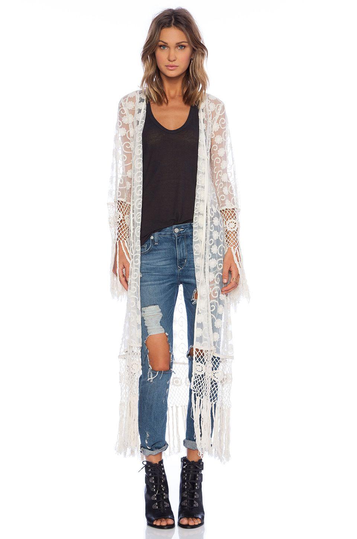 e8192acb7 Band of Gypsies Lace Fringe Kimono in Ivory | Fashion ~ Women's ...