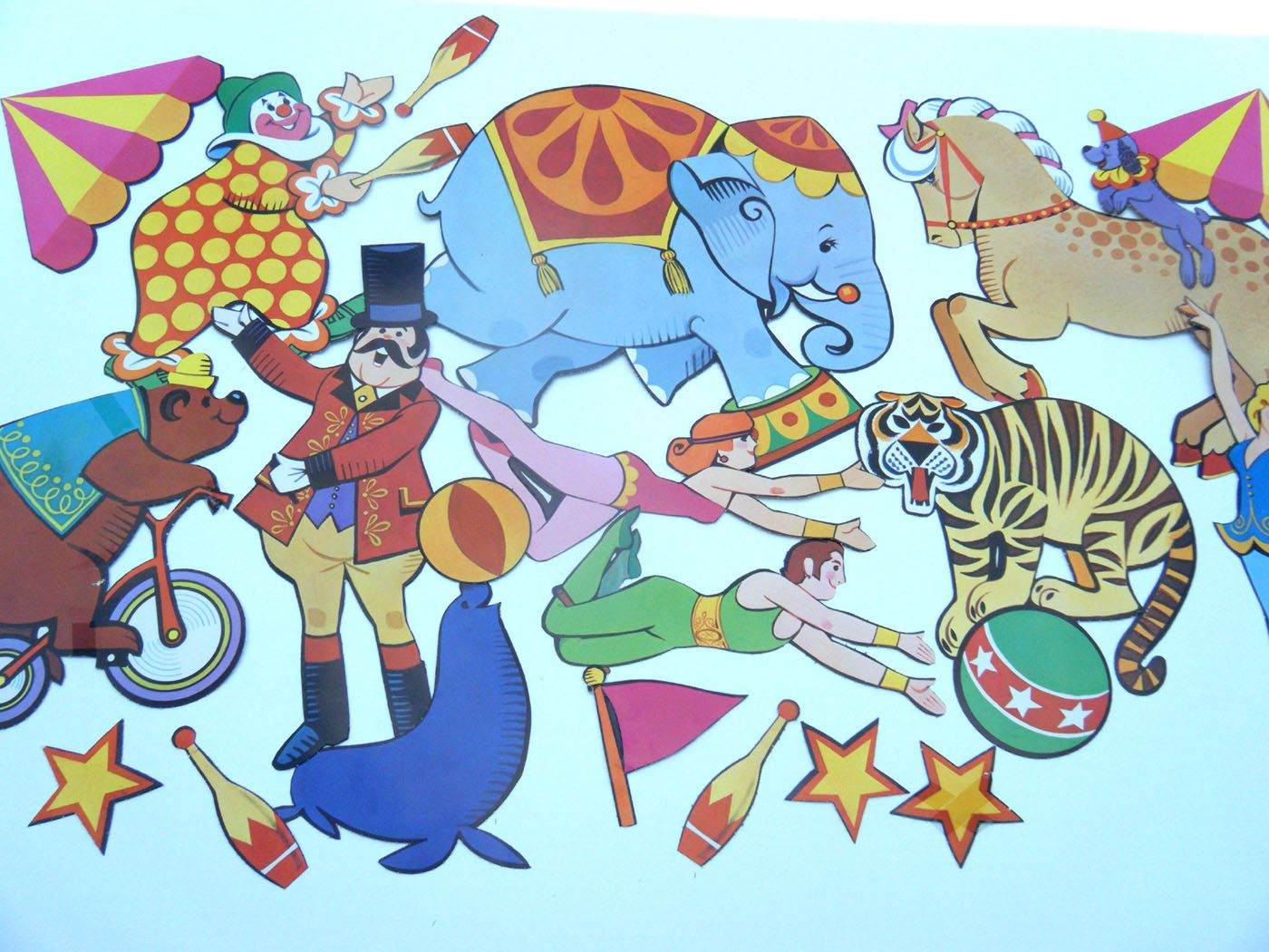 Vintage Lot of CIRCUS Cut Outs For Decorating Walls or Circus Party Decorations Elephant Tiger Bear Seal Horse Ringmaster and more. $16.00, via Etsy.