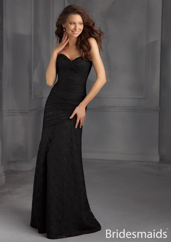 Black lace, strapless sweetheart on ruched bodice. Open back ...