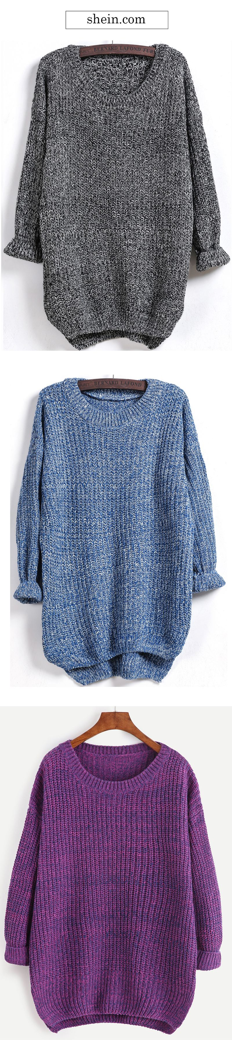 Dipped Hem Marled Loose Sweater | Cozy, Clothes and Winter