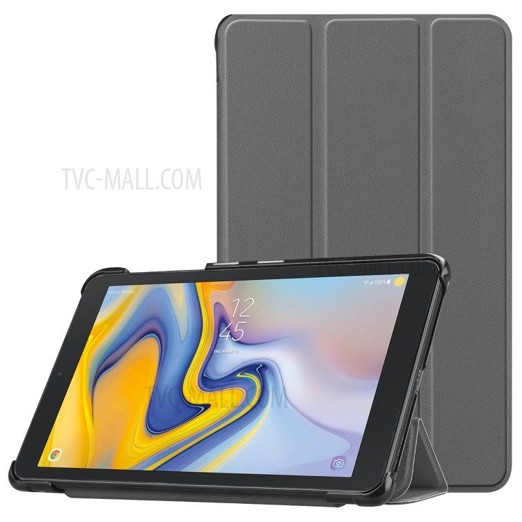 Tri Fold Stand Pu Leather Auto Wake Sleep Protection Shell For Samsung Galaxy Tab A 8 0 2018 T387 Grey Phones Samsung Tabl Samsung Samsung Hulle Android