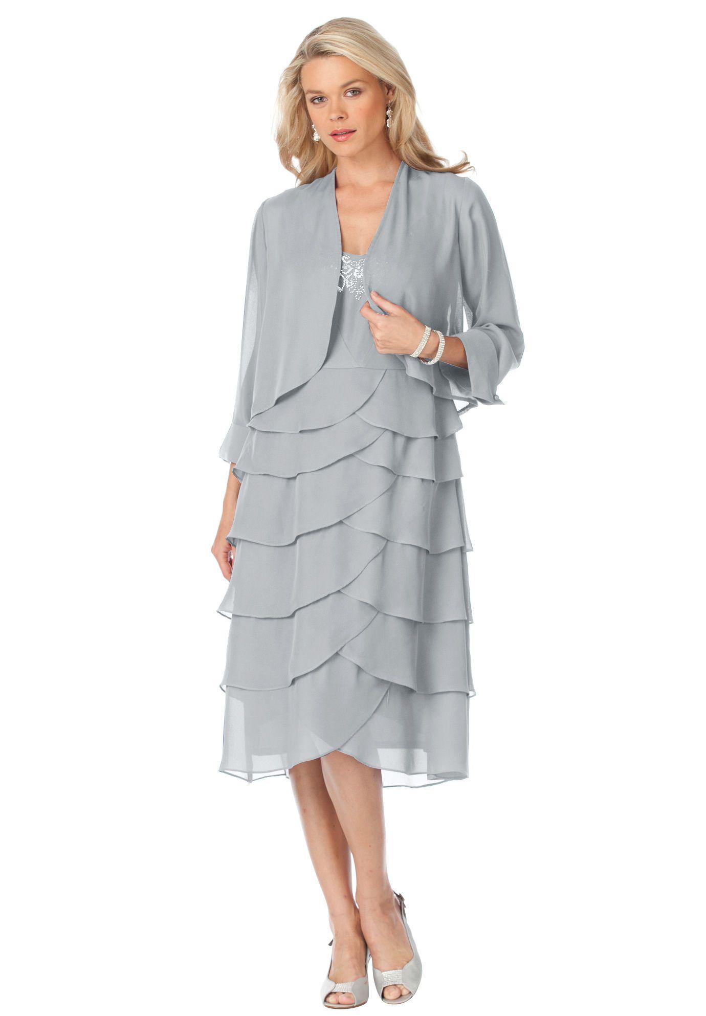 Plus Size Tiered Dress With Jacket – DACC