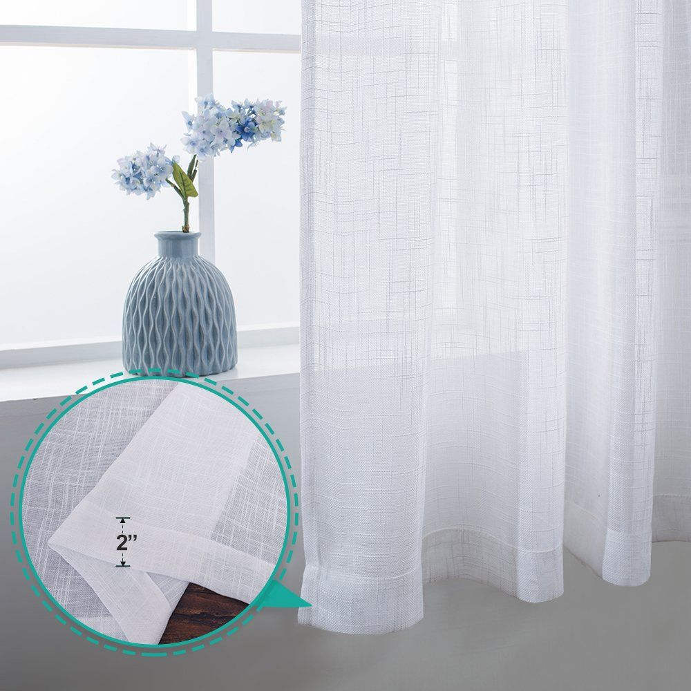 Nicetown Thick Sheer Curtains For Small Window Linen Look Vertical