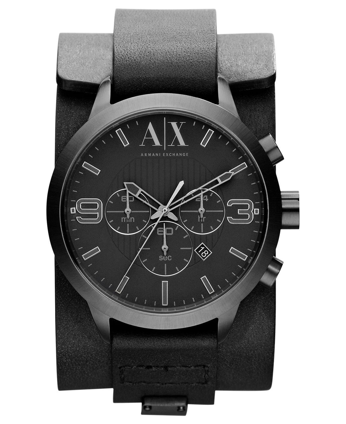 18612bbef25a7 A X Armani Exchange Watch, Mens Chronograph Black Leather Cuff Strap 48mm  AX1276