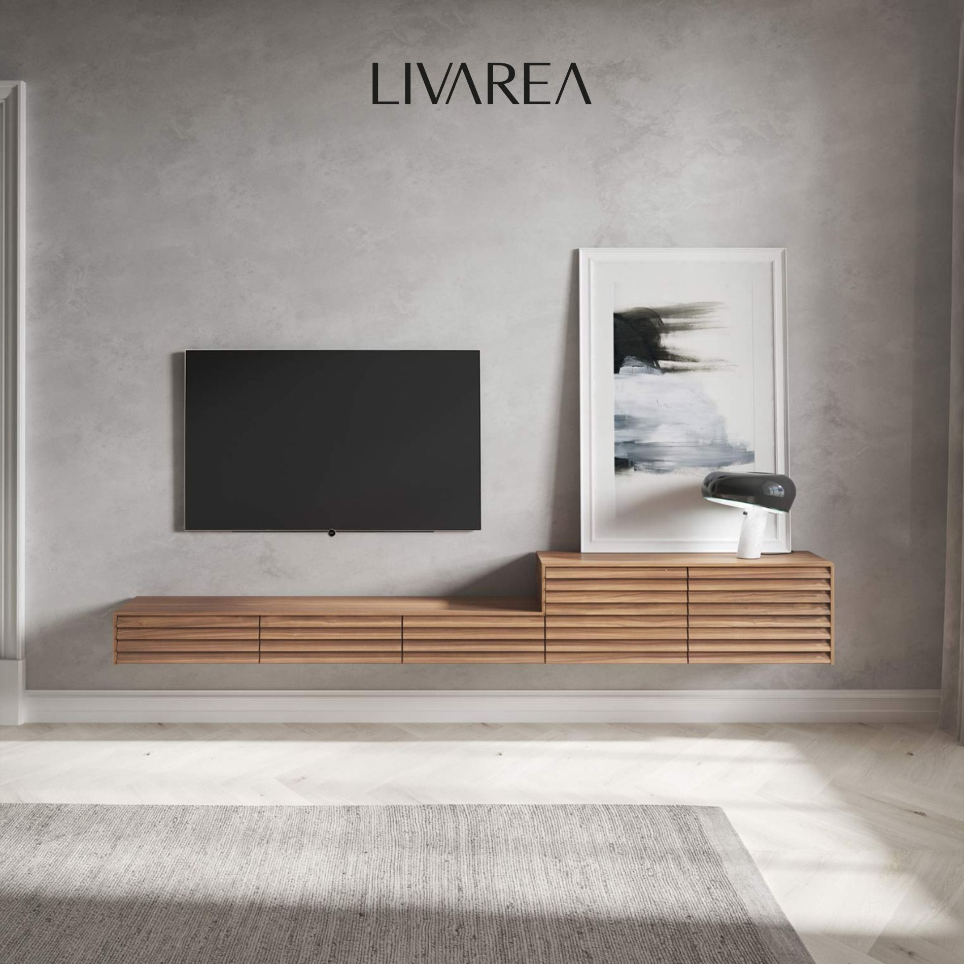 Schönes Design Wohnzimmer mit TV Paneel und Lowboard in 9