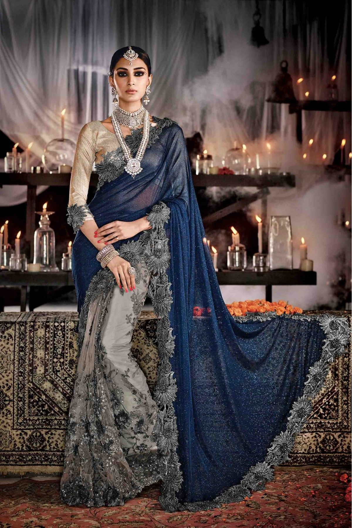 Net and lycra party wear designer saree in grey and blue colour