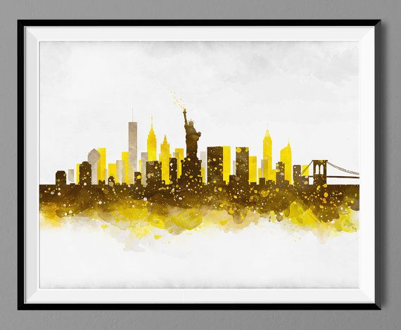 Awesome New York Cityscape Wall Art Sketch - Wall Art Collections ...