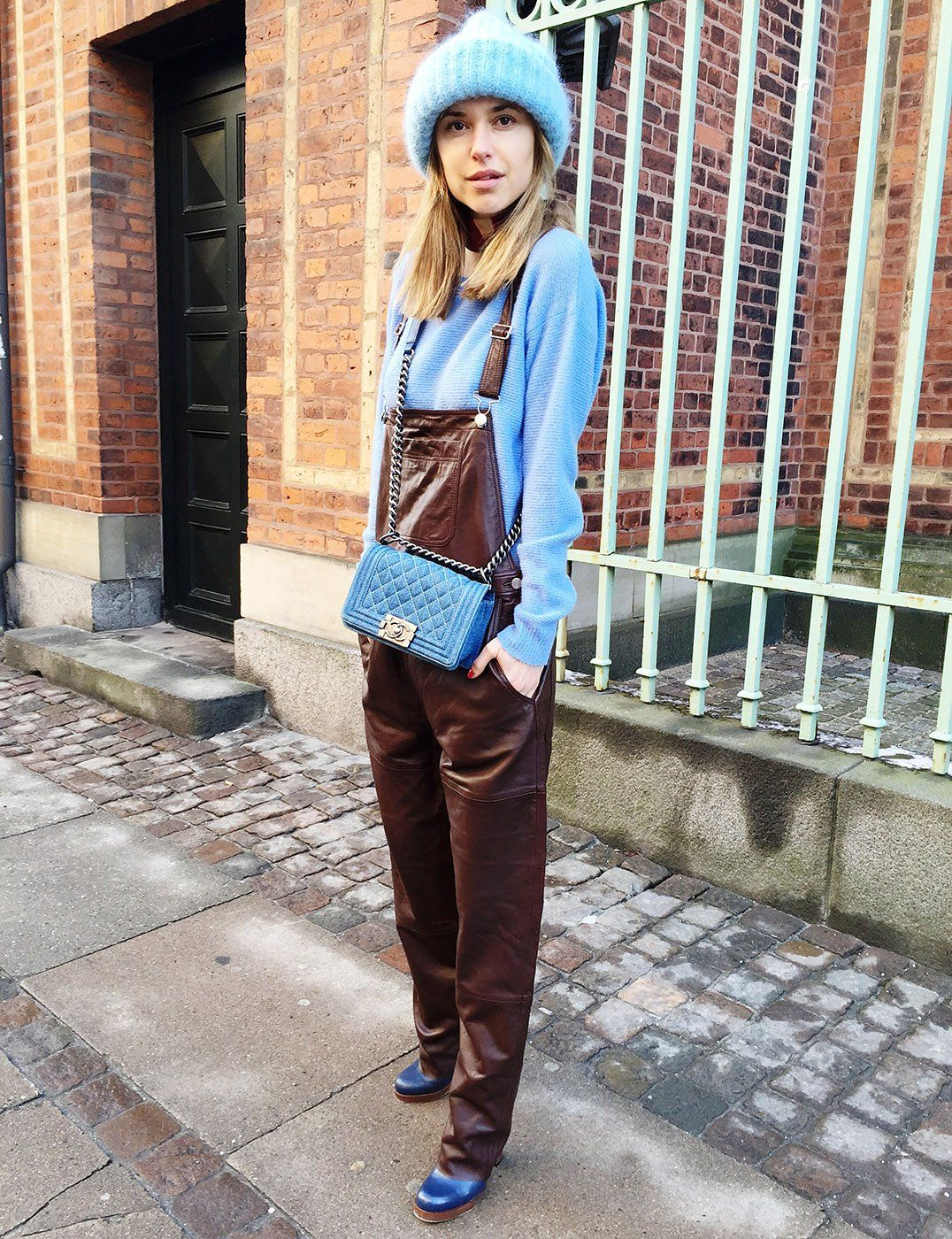 Ganni Passion leather dungarees. What Danish Street Style Star Pernille  Teisbaek is Wearing to Fashion Week
