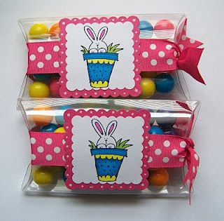 Treats: Pillow boxes filled with gumballs--super easy - once you buy the pillow box.